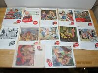 LOT OF 12 ORIGINAL COCA COLA ADS From the 1940's. Santa, Military, WWII