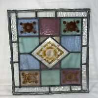 Antique OLD ENGLISH LEAD STAINED Hand Painted GLASS WINDOW Panel Geometric VTG