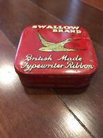 Vintage Red Tin Box British Made Swallow Brand Typewriter Ribbon