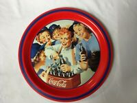 Coca Cola Tray Girl's Softball Team Coke Round 1952 1993 Haddon Sundblom
