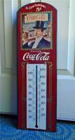 Vintage COCA COLA THERMOMETER  Advertising COKE Soda Pop Wood Drink 5 Cents Sign