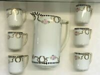 Vintage  Nippon Pitcher &  6 Cups Hand Painted
