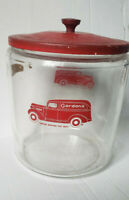 Vintage Gordon's Truck Peanut Jar & Red Tin Lid Tom's Lance Store Display RARE