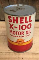 NOS Vintage SHELL X-100 Motor Oil 1 Qt Gas Service Station Tin Can Sign UNOPENED