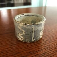 Bernard Leach St Ives Pottery Stoneware Egg Cup Grey Over White England