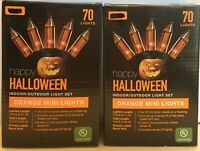 Halloween string lights indoor outdoor orange bulbs 2 boxes of 70 NEW