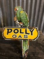 Porcelain Polly Gas Pump Parrot Sign Vintage Antique Gulf Shell Station Oil Can