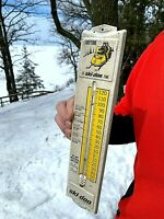 Vintage Metal Outboard Skidoo Snowmobile Thermometer Sign W/ Graphics