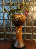 Roseville Pottery 1930s Brown FREESIA Jardiniere and Pedestal 669-8. Beautiful!