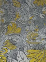 Vintage Mid Century House N Home Screen Print Fabric Yellow Black and White $99.00