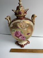 VINTAGE NIPPON HAND PAINTED YELLOW ROSE URN VASE GOLD BEADED