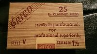 BRAND NEW VINTAGE OLD STOCK Rico Eb  Clarinet Reeds Box of 25 (Strength 1.5)