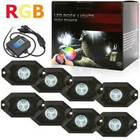 AUXBEAM 8 Pod RGB LED Rock Lights Offroad Music Wireless Bluetooth Control ATV