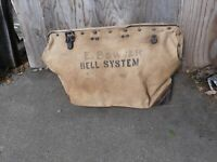 Bell system linesman canvas tool bag circa 1930's