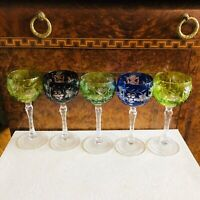 Vintage Crystal Colored Cut To Clear Czech Bohemian Wine Glass Goblets Set Of 5