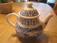 STAFFORDSHIRE Broadhurst Ironstone Tea Pot  Castles Blue & White Queen's Silver