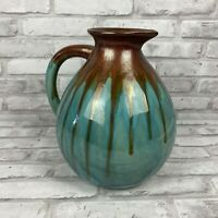 Large Drip Glaze Pottery Water Pitcher Vase Planter Turquoise Brown 1 Handle