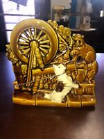 Vintage McCoy USA Pottery Cat & Dog Spinning Wheel Planter