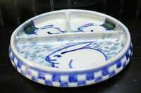 Debbie Dean Art Pottery Bunny Rabbit Checkerboard Divided Dish Cobalt Blue Gray
