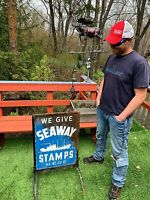 Vintage Seaway Stamps Metal Curb Sign W/ Nautical Outboard Boat Ship gas oil