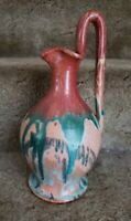 North Carolina Pottery ? 11quot; Mulitcolored Drip Glazed Rebecca Pitcher Jug
