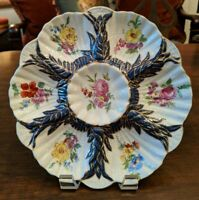 Antique Limoges FLORAL 6 Well Oyster Plate W/ BLUE GOLD ACCENTS 9