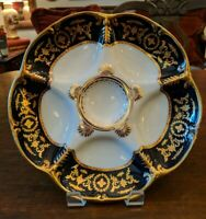 REGAL Antique Limoges 5 WELL OYSTER PLATE White W/Gold/Navy Blue Border 9.5