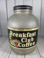 Vintage Breakfast Club COFFEE Glass Jar With Lid And Paper Label USA Rare