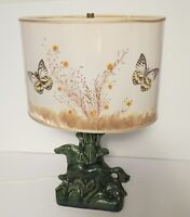 Vintage VAN BRIGGLE Horse Lamp with Original Butterfly Lampshade