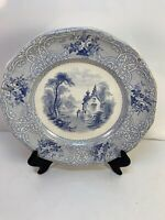 Blue Roselle Ironstone Plate Transferware J. Meir Son Staffordshire England READ