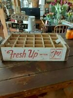 vintage wooden seven up soda crate