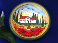 Tuscany Italy Italian Pottery Tuscan Landscape Poppies Olive Oil Dipping Bowl