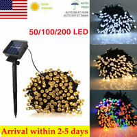 50/100/200 LED Solar String Fairy Lights Outdoor Party Xmas Tree Waterproof US