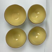 Vietri Italy Cucina Fresca Cream/Green Cereal Bowls Terra Cotta Edge Set Of 4