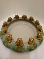 Vintage 12 Frogs Lily Pad Bowl Planter Majolica Style Pottery