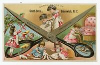 Antique Victorian SMITH BROS. Scissors Cutting Shears Sewing Trade Card Gre