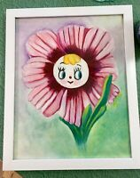 Vintage Inspired Anthropomorphic Py Japan Flower Wall Pocket Oil Painting 8x10
