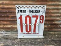 Vintage Gas Station Price Sign Metal Auto Garage Oil Number Sign 15 x 17 1/2