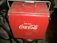 vintage coca-cola soda cooler carrier metal with tray opener 1940 circa embossed