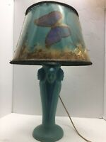 ANTIQUE VAN BRIGGLE THREE INDIAN FACE POTTERY LAMP WITH BUTTERFLY SHADE