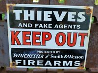 VINTAGE THIEVES PORCELAIN SIGN GAS MOTOR OIL SERVICE STATION WINCHESTER WESSON