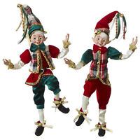 RAZ Imports Posable Elves in Christmas Plaid Vests - Set of 2 Assorted - 16 inch