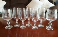 Queen's Lace Bohemian Crystal Hand Etched Wine Glasses Champagne Goblets Set/7