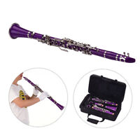 Muslady ABS 17-Key Clarinet Bb Flat with Carry Case Gloves Cleaning Cloth E0S9