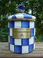 MACKENZIE CHILDS SMALL ENAMEL ROYAL CHECK CANISTER