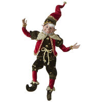 RAZ Imports Christmas Posable Elf with Bendable Arms and Legs, Stars Design 16