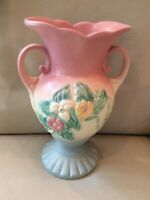 Vintage HULL ART POTTERY Vase Winged Double Handle Wildflower W14 - 10 1/2
