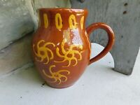 Fine Dated 1977 Lester Breininger Redware Decorated Pitcher