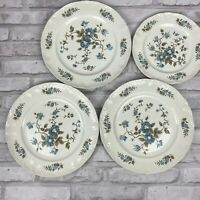 Staffordshire Blossomtime Blue Floral 3 Dinner Plates 1 Salad Plate Ironstone