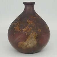 Studio Pottery Wood-Fired Weed Vase Signed by Artisan Stoneware Ceramic Vessel